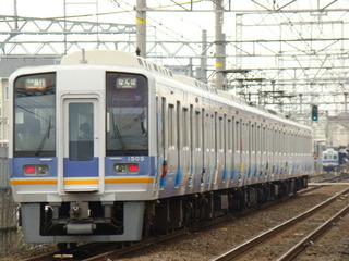 1000系・住之江競艇ラッピング車&2200系(羽衣4号踏切から)