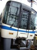 洗車体験コーナーで使用された7020系・7521F。