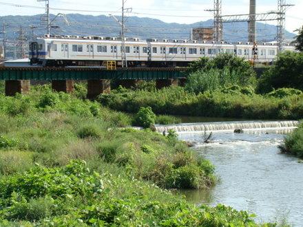 7100系(男里川橋梁の西側から)